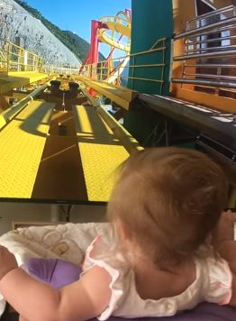 That's what these parents were aiming for when they decided to take their six-month-old daughter, Holly, on her first roller coaster ride and record the experience. If this appears dangerous to you, trust me -- it's not what you think.
