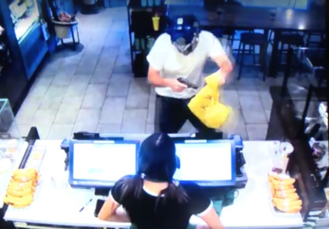 A man now identified as Ryan Flores walked in wearing a Transformers mask, wielding a knife and a toy gun to rob the Starbucks location.