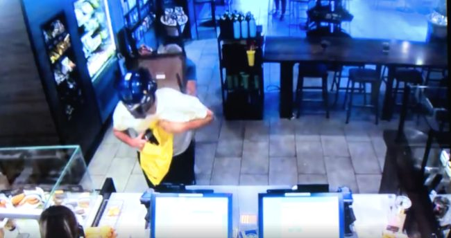 Customer Craig Jerri snuck up from behind and bashed Flores in the head with a chair before tackling him to the ground. He managed to wrestle the knife away.
