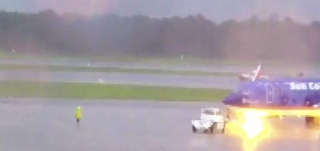 Dunn was one of three grounds workers on the tarmac during the severe storm.